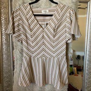NWT M striped peplum blouse